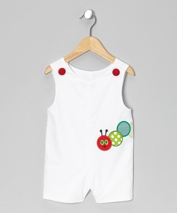 White Caterpillar Shortalls - Infant & Toddler