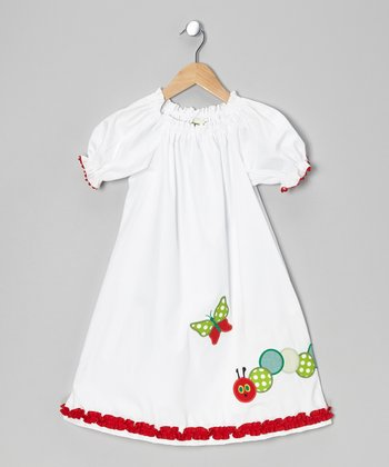 White Caterpillar Puff-Sleeve Dress - Infant & Girls