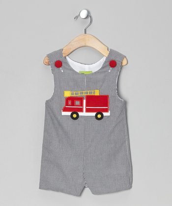 Black Gingham Fire Truck Shortalls - Infant