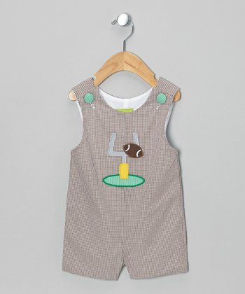 Brown Gingham Football Shortalls - Infant & Toddler