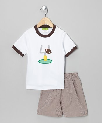 White Football Tee & Brown Shorts - Infant, Toddler & Boys