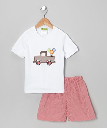 White Party Truck Tee & Red Shorts - Infant, Toddler & Boys