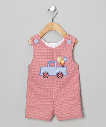 Red Gingham Party Truck Shortalls - Infant & Toddler