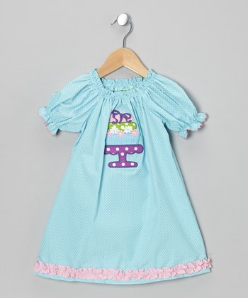 Blue Cake Stand Puff-Sleeve Dress - Infant, Toddler & Girls