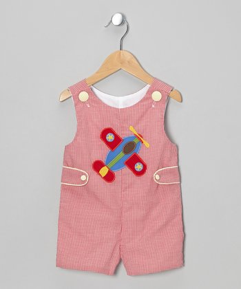 Red Gingham Airplane Shortalls - Infant & Toddler