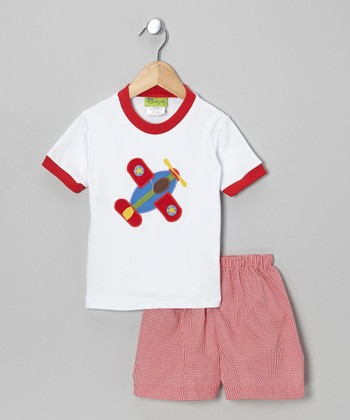 White Airplane Tee & Red Shorts - Infant, Toddler & Boys