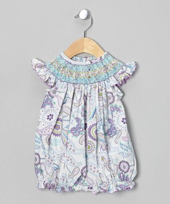 Purple Paisley Smocked Bubble Bodysuit - Infant