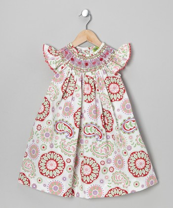 Pink Paisley Smocked Angel-Sleeve Dress - Infant, Toddler & Girls