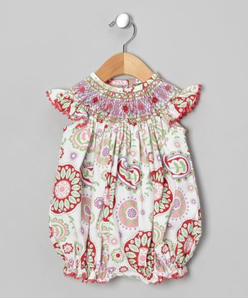 Pink Paisley Smocked Bubble Romper - Infant & Toddler