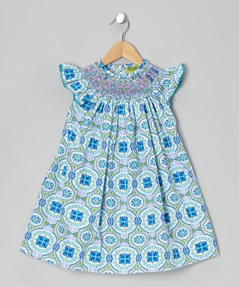 Blue Bali Smocked Bishop Dress - Infant, Toddler & Girls