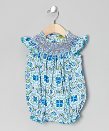 Blue Bali Smocked Bubble Bodysuit - Infant & Toddler