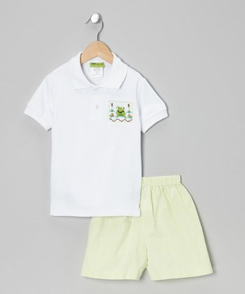 White Frog Polo & Lime Shorts - Infant, Toddler & Boys