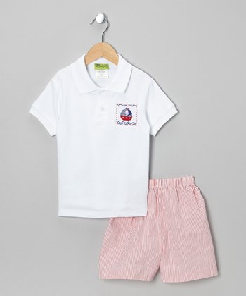 White Nautical Polo & Red Shorts - Infant, Toddler & Boys