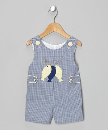 Blue Gingham Fish John Johns - Infant & Toddler