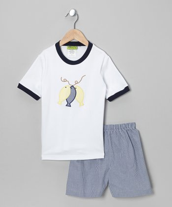 White Fish Tee & Blue Shorts - Infant, Toddler & Boys