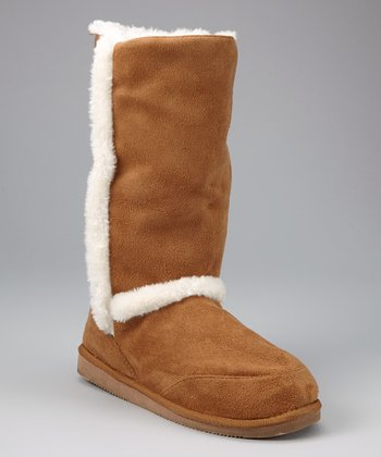 Camel Faux Fur-Trim Boot