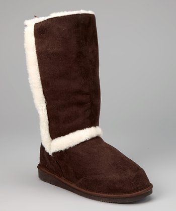 Dark Brown Faux Fur-Trim Boot
