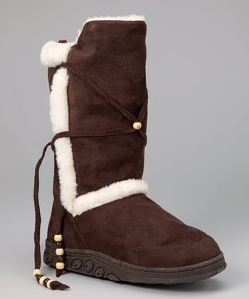 Dark Brown Faux Fur Boot