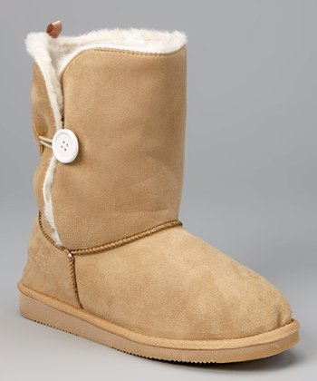 Tan Toggle Button Boot