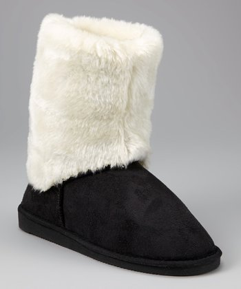 Black & White Faux Fur Cuff Boot