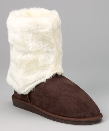 Dark Brown & White Faux Fur Cuff Boot