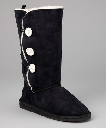 Black Toggle Three-Button Boot