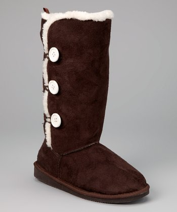 Dark Brown Toggle Three-Button Boot