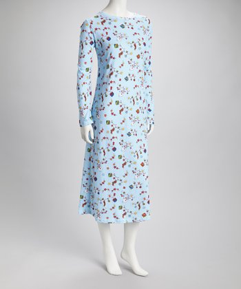 Light Blue Garland Nightgown - Women