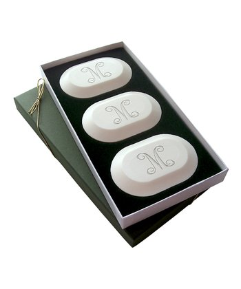 Oval Vine Initial Soap Set