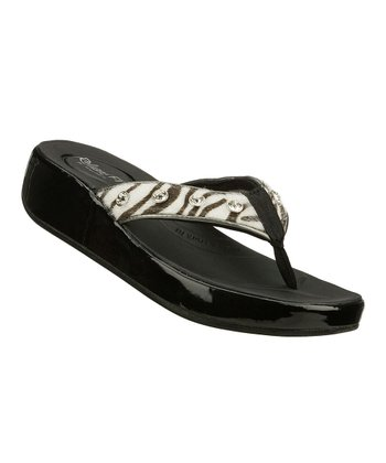 Black & White Zebra Traditions Upgrades Sandal