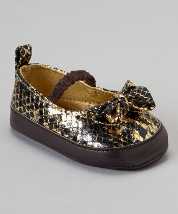 Laura Ashley Brown Snakeskin Bow Mary Jane