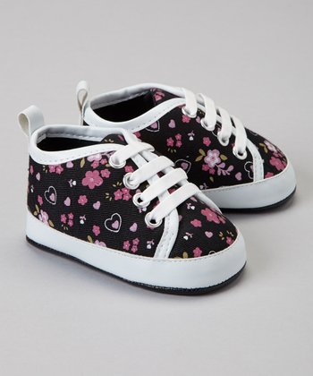 Black Floral Slip-On Sneaker