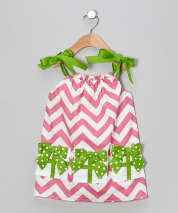 Pink & Green Chevron Bow Swing Dress - Infant & Toddler