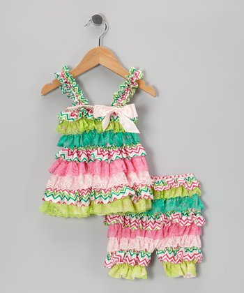 Green & Pink Zigzag Ruffle Dress & Shorts - Infant