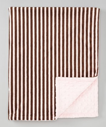Brown & Pink Stripe Minky Stroller Blanket