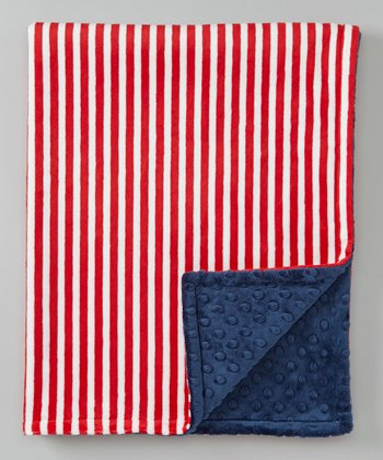 Blue & Red Stripe Minky Stroller Blanket