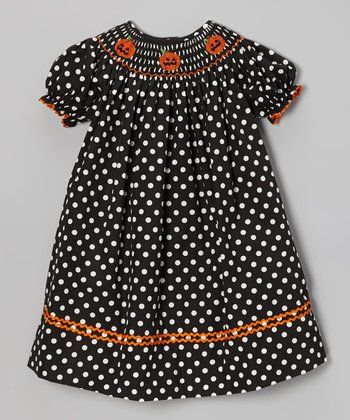 Black Polka Dot Pumpkin Bishop Dress - Infant & Toddler