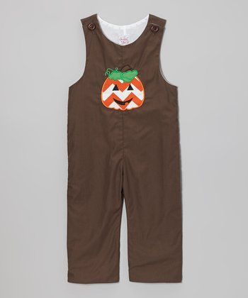 Brown Pumpkin Appliqué Overalls - Infant & Toddler