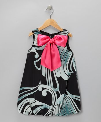 Black & Hot Pink Ocean Bubble Dress - Toddler & Girls