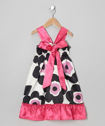 Pink & Black Flower Satin Dress - Toddler & Girls