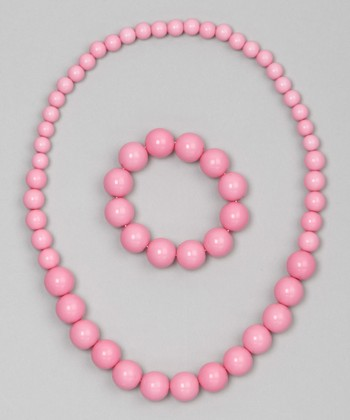 Pink Bead Necklace & Bracelet