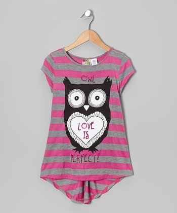 Fuchsia Stripe 'Owl Love Is Perfect' Hi-Low Tee