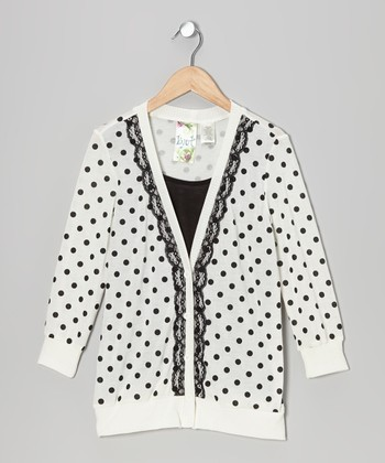 Black & White Polka Dot Layered Cardigan Top - Girls