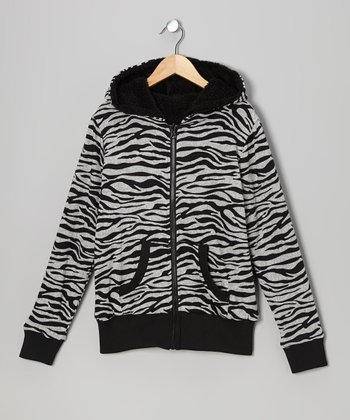 Gray & Black Zebra Reversible Zip-Up Hoodie
