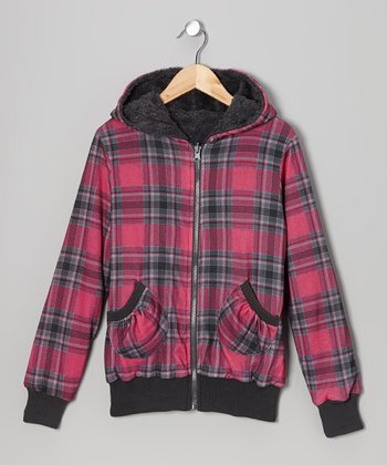 Pink & Charcoal Plaid Reversible Zip-Up Hoodie