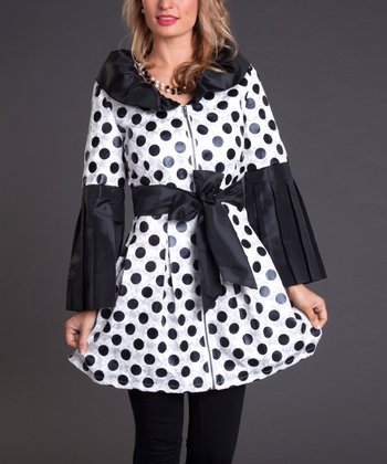 White Polka Dot A-Line Coat