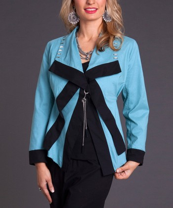 Blue & Black Color Block Jacket & Tank