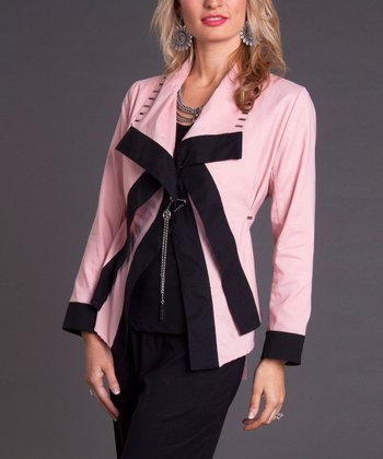Pink & Black Color Block Jacket & Tank