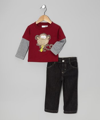 Red Monkey Layered Tee & Jeans - Infant