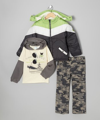 Black & Green Puffer Coat Set - Infant